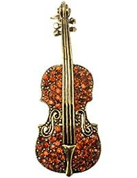 ノーブランド品 茶色 特別 女性の宝石 バイオリン 水晶 秋の衣類付属品 ブローチピン