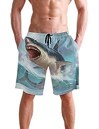 VAWA 水着 メンズ サーフパンツ おしゃれ ビーチパンツ 海水パンツ 短パン 吸汗速乾 大きいサイズ 水陸両用 かわいい サメ シャーク 面白い