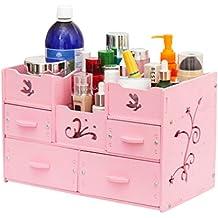 DIY Cosmetic Storage Box, Drawer Type Large Wooden Creative Desktop Storage Box Dressing Table Rack Waterproof (Color : Pink)