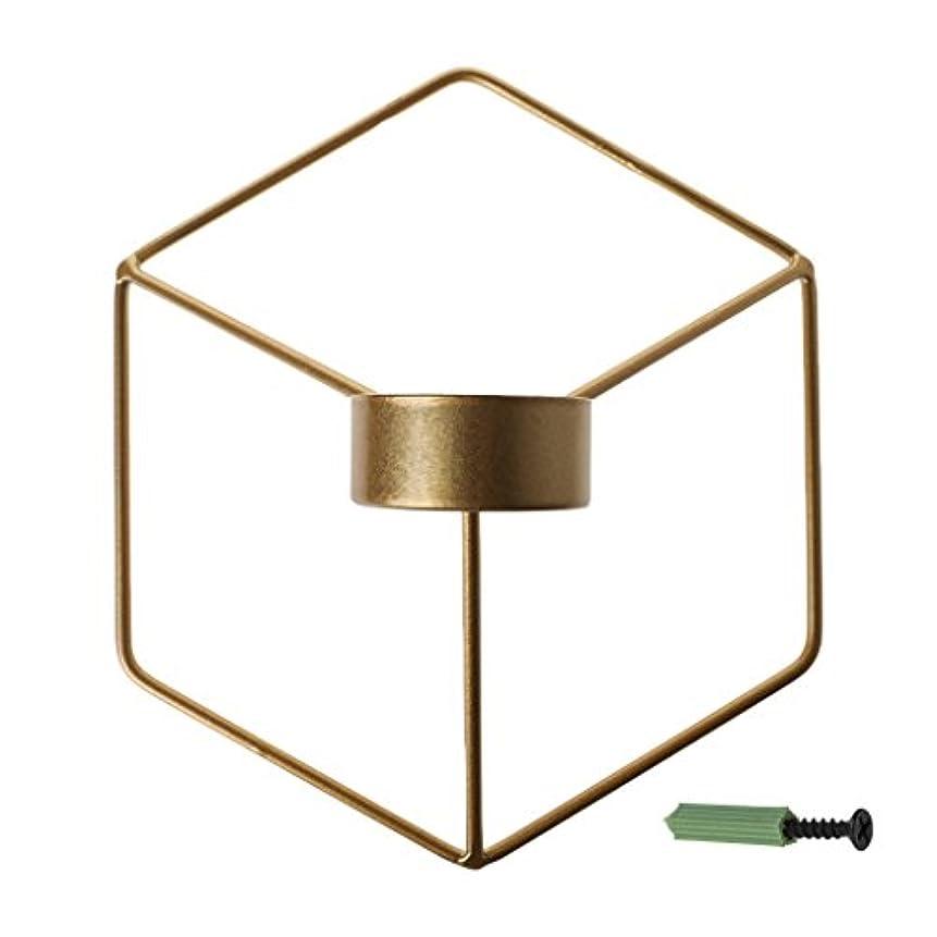 だらしない入り口過激派SimpleLife 北欧スタイルの3D幾何学的な燭台の金属の壁のキャンドルホルダーSconceホームインテリア