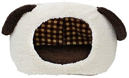 スーパーキャット  Super Cat  ぬくふかハウス犬型M クリーム/ブラウンチェック