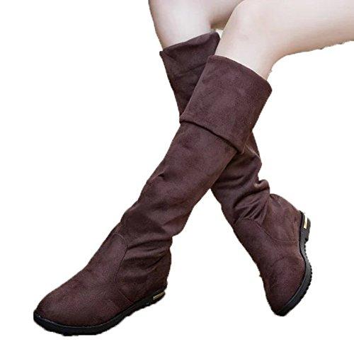 ワンース (Wansi) レディース ロング ブーツ ウインターストレッチブーツ 靴 秋冬 カジュアル ファッション 脚やせ 厚底 長靴 シューズ 22.5CM ブラウン