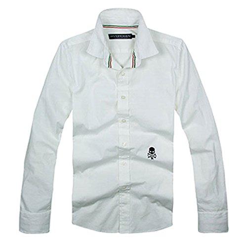 (ハイドロゲン)HYDROGEN カジュアルシャツ 長袖シャツ メンズ スカル ホワイト M 並行輸入品