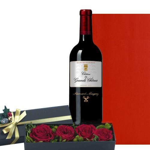 赤ワインとお花プレゼント フランス 高級なボルドー 赤色 プリザーブドフラワ 家族 お祝い 贈り物