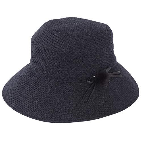 Rose Blanc(ロサブラン) 100%完全遮光 UV 帽子 アイスランドウール コサージュ付 ハット レディース 秋冬モデル (ブラック)
