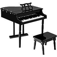 KCHEX>子供用30キートイ グランドベイビーピアノ 子供用 ベンチウッドブラック これは当社の美しい30キー木製グランドピアノで、幼児と子供に最適です。