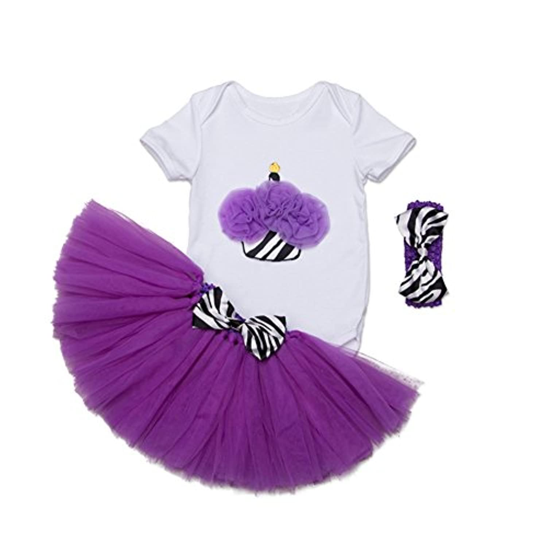 ALLAIBB ベビー服 女の子 半袖 ロンパース チュチュスカート 紫 ヘアバンド 3点セット 誕生日 出産祝い ケーキ柄 XL