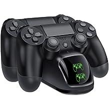 PS4 コントローラー 充電 BEBONCOOL PS4 充電 スタンド DS4/PS4 Pro/PS4 Slim 充電器 2台同時充電可能 DUALSHOCK4 充電 LED 指示ランプ付き (黑)