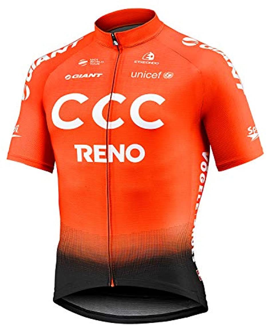 灰上がる夜自転車ウェア 2019 CCC RENO 半袖ジャージ Mサイズ トレーニングバージョン