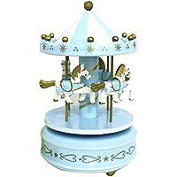 (よんピース)4 piece オルゴール 木馬 メリーゴーランド パステルカラー おしゃれ かわいい 置き物 KH0117 (ブルー)