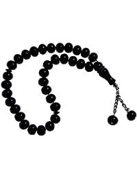 33-ビーズ ラージ 12x9.5mm ブラック モノマー イスラム教徒 タスビハ 祈り ダヒカービーズ ビーズチェーンタッセル2本付き
