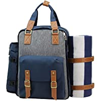 Picnic Backpack | Picnic Basket | Stylish All-in-One Portable Picnic Bag for 4 with Complete Wooden Cutlery Set, Stainless Steel S/P Shakers | Waterproof Fleece Picnic Blanket | Cooler Bag for Camping