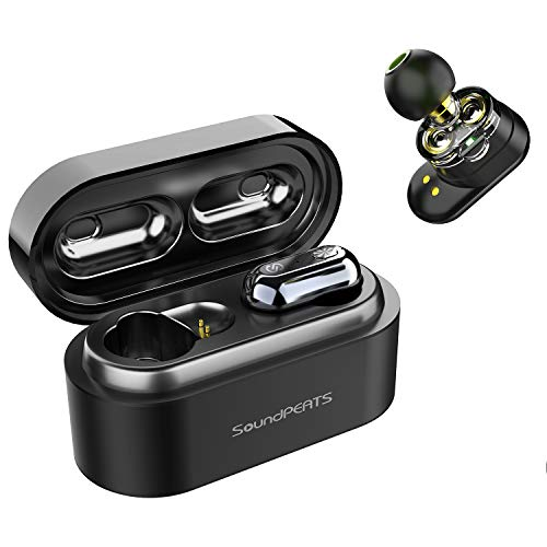 【最新改善版 高音質】ワイヤレスイヤホン SoundPEATS(サウンドピーツ) Truengine 完全ワイヤレス イヤホン Bluetooth 5.0 デュアルドライバー AAC対応 IPX6防水 自動ペアリング 左右分離型 片耳対応 マイク内蔵 両耳通話 音量調整可能TWS ブルートゥース ヘッドホン トゥルーワイヤレス ヘッドセット フルワイヤレスイヤホン [メーカー1年保証] ブラック