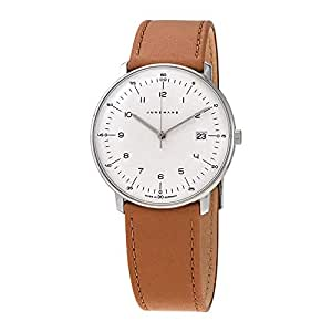 Junghans Men's 38mm Brown Leather Band Steel Case Quartz Silver-Tone Dial Analog Watch 041/4562.00