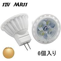 MR11 GU4 LED 電球 4W 12V AC/DC 40Wハロゲン電球/ハロゲンランプ 相当 GU4.0口金 風景、埋め込み、トラック照明用 スポットライト (電球色 6個入り)
