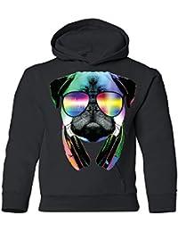 DJパグwithクールヘッドフォンYouth Hoodie Cool Dog Breedスウェットシャツ