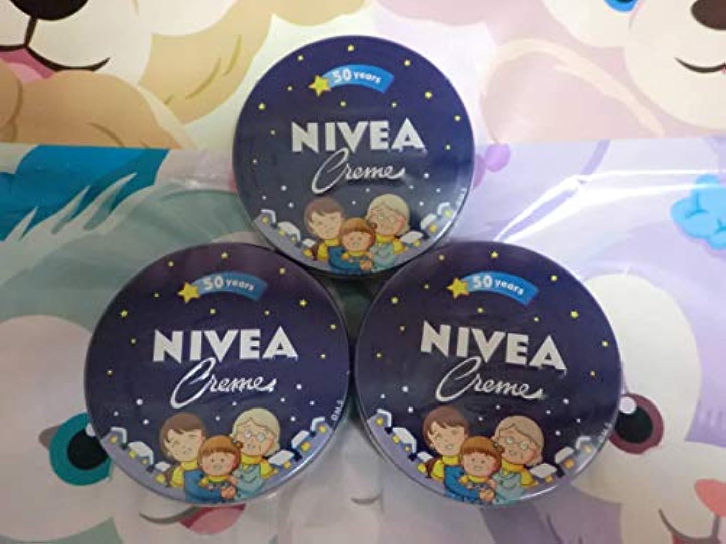 箱めんどり同情的花王 NIVEA 二べア 缶169g×3缶 さくらももこデザイン 50years ちびまるこ 二べアクリーム 二べアスキンケアクリーム ハンドクリーム anime キャラクター グッズ