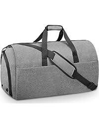 NEWHEY ガーメントバッグ メンズ ボストンバッグ ダッフルバッグ 修学 旅行 スーツバッグ 折りたたみ 大容量 靴収納 スーツ収納 出張 就活 スポーツ ジム バッグ55L 2way ブラック グレー
