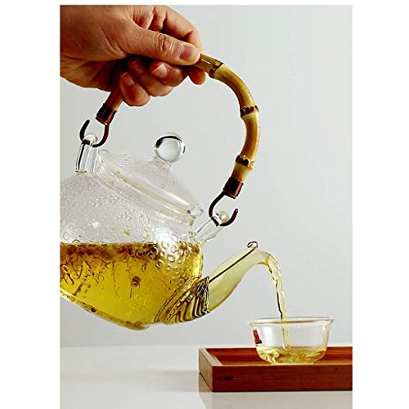 慣習洞察力のあるぜいたくステンレス鋼の注入器及びふたが付いている贅沢なガラスティーポット、ホウケイ酸ガラスの花茶やかんのコンロの金庫、咲く及び緩い葉のティーポット、600 ml