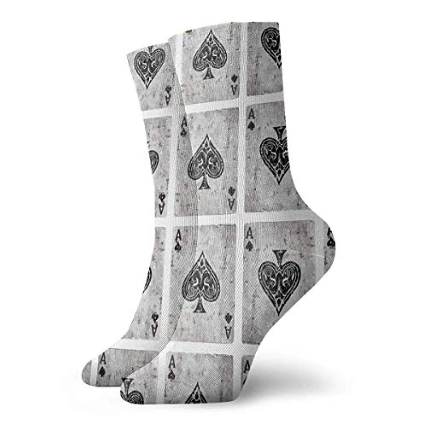 手のひらジョガーもろいスペードのクリスマスのビンテージエーススペードポーカーソフトクリスマス膝高ストッキング靴下、クリスマス楽しいカラフルな靴下ソックス