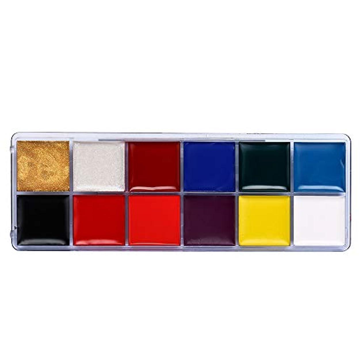 ブランク危険にさらされている観察する12色ボディ塗装オイルカラードラマピエロハロウィンメイクアップフェイスカラー