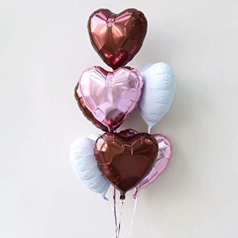 浮かせてお届け ヘリウムガス入り アイブレックス ハート7個 バルーンブーケ ブラウン&ピンク&ホワイト誕生日 バルーン電報 結婚式 飾り付け
