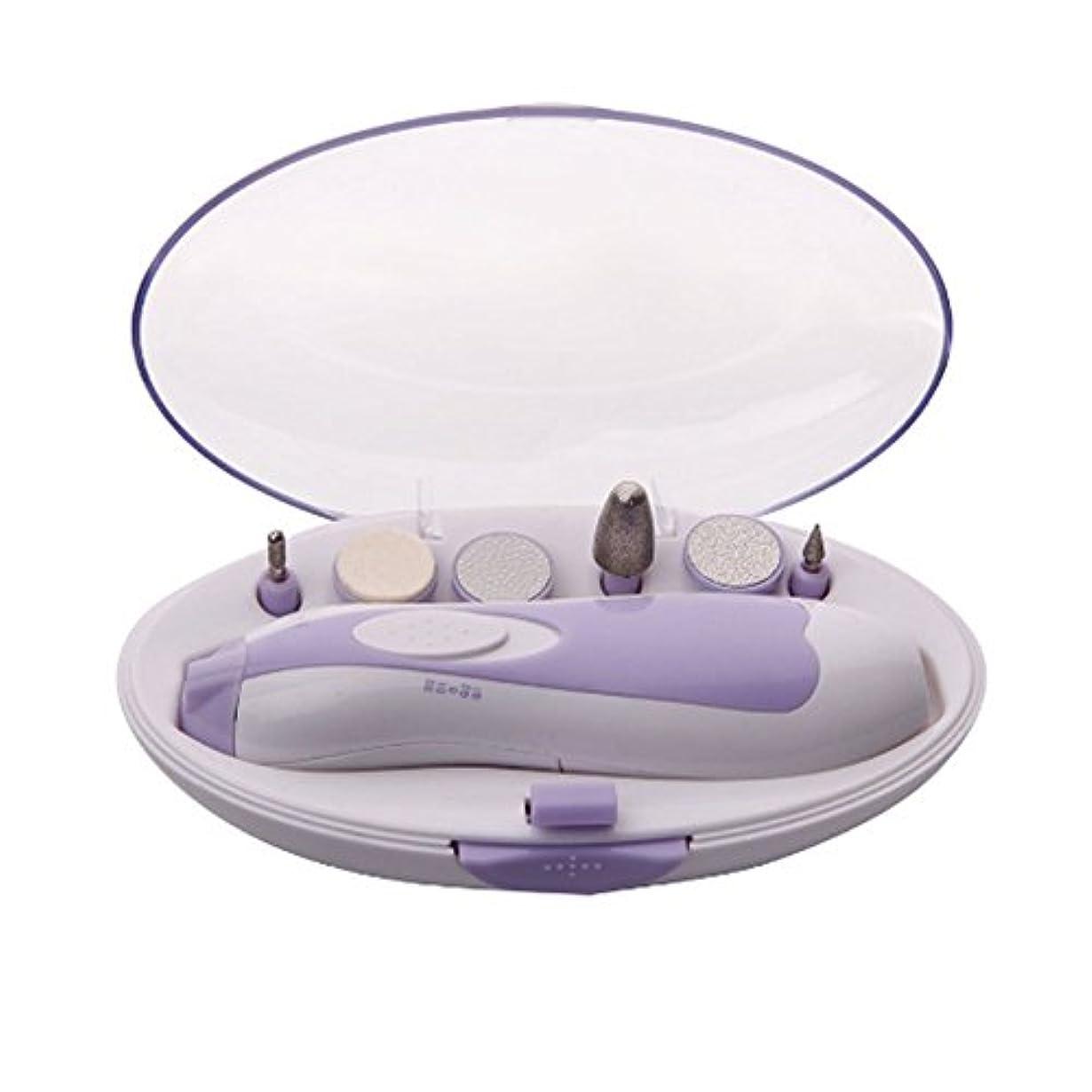 Xiton 電動ネイルケア ネイルケアセット LEDライト搭載 アタッチメント6種類付き 角質ケア 爪やすり 爪磨き 甘皮処理 男女兼用