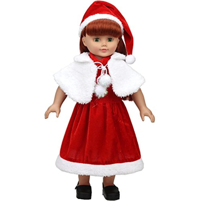 Shero 14 – 16インチベビー人形のクリスマスドレススーツ(ドレス+帽子+ケープ)