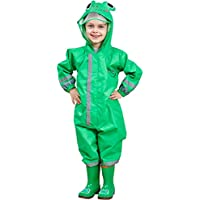 Zilee Kids Rainsuit Waterproof Raincoat Jumpsuit - Children Coverall Rainwear All-in-One Rain Jackets Reusable Rain Coat Slicker Windproof Hooded for Sports Camping Traveling Outdoors Park Boys Girls