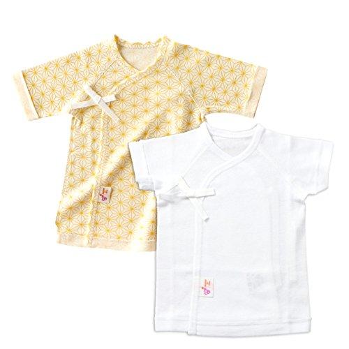 赤ちゃんの城 低出生体重児 短肌着 2枚セット 麻の葉 日本製 クリーム