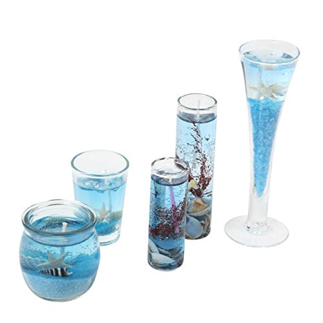 トンできない横向きN-hilfe アロマキャンドル 貝殻 ジェル 5個 セット (青)