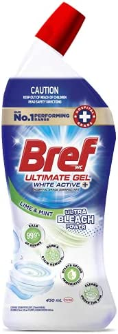 Bref Ultimate Gel White Active+ Ultra Bleach Power, Hospital grade disinfectant Toilet Cleaner gel, 450m(packa