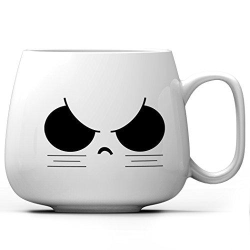 Asmwo猫表情カップシリーズオリジナルクール眉を釣り上げたマグカップかわいいコーヒーカップシンプルなティーカップ家族・親友・仲間への贈り物400ml
