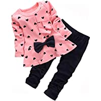 ACMOLIN Cute Toddler Baby Girls Clothes Set Long Sleeve T-Shirt and Pants Kids 2pcs Outfits (2-3 T, Pink2)