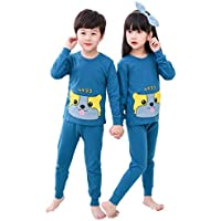 Cartoon Children's Thermal Underwear Round Neck Autumn Clothes Suit Cute Cotton Home Air Conditioning Pajamas