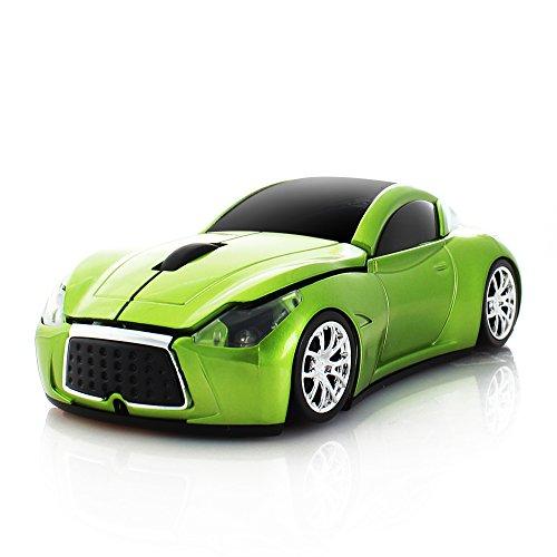 RUUNNER ワイヤレスマウス 無線マウス クール 車型 スポーツカー かっこいい コンパクト 小型 軽量 持ち運び便利 USB 2.4GHz 光学式 高精度 受信範囲10M 6色 (グリーン)