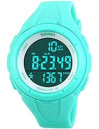 子供の腕時計防水スポーツウォッチ ledデジタルストップウォッチ アラーム機能 (ブルー)