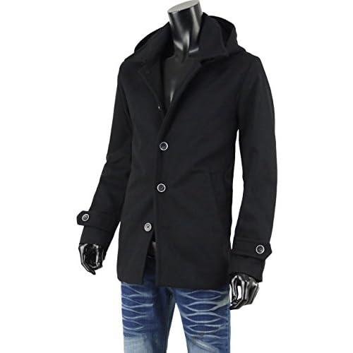 コート メンズ ショート ハーフコート フード付 コート ウール メルトンコート G270914-02 ブラック M