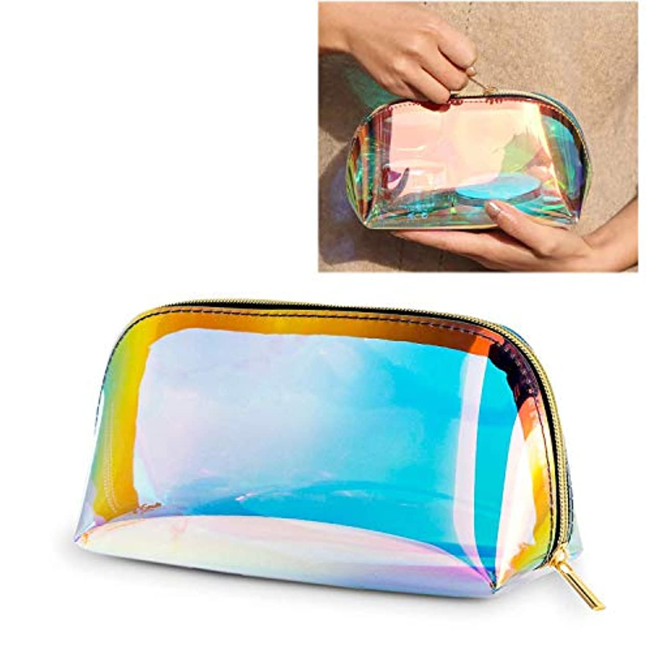 [Huadous]化粧品ポーチ メイクブラシポーチ メイク 収納 ポータブル防水透明pvcメッシュ温泉、ビーチサイド旅行、出張 HZB-001