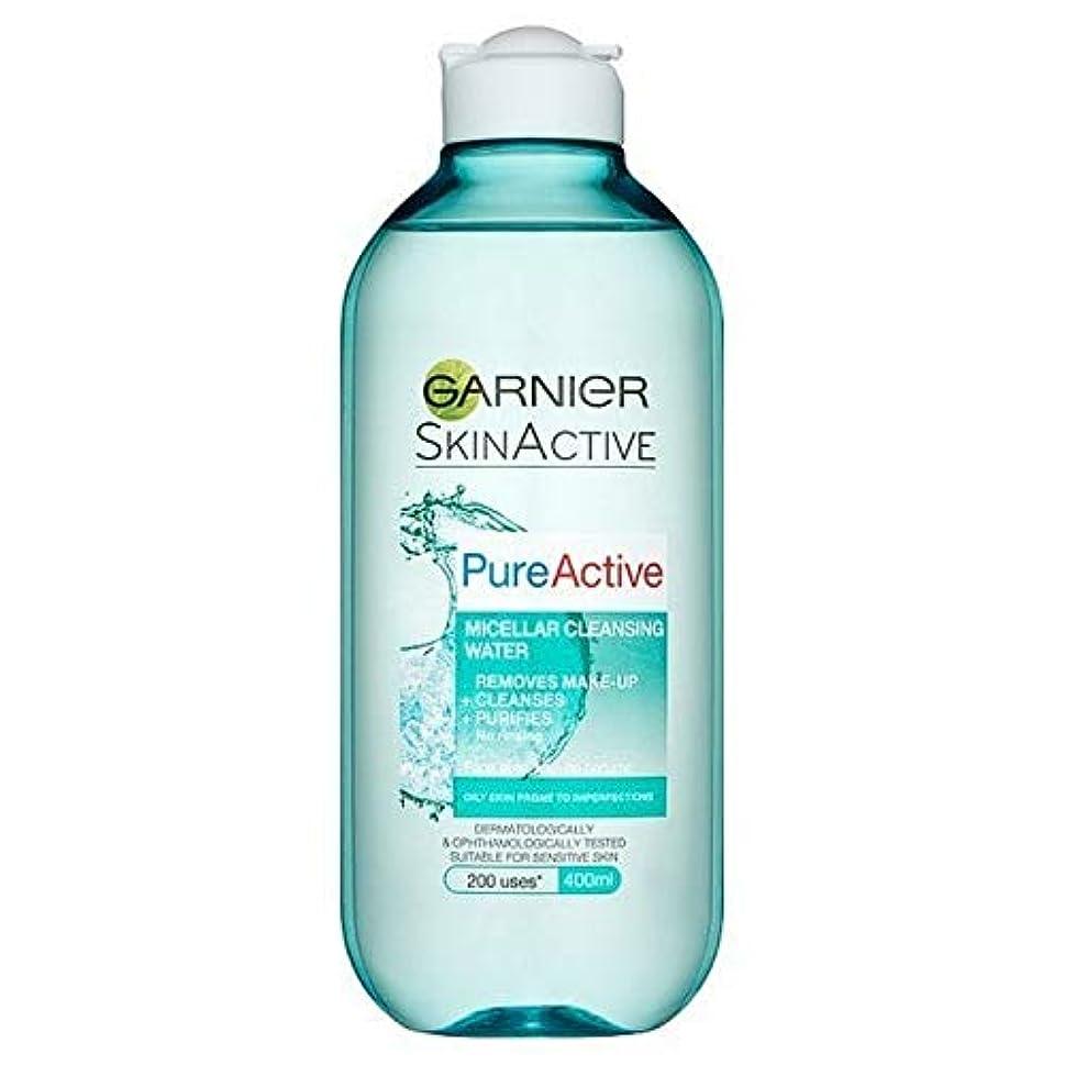 ピンスポンジ重要な[Garnier ] 純粋な活性ミセル水脂性肌用400ミリリットル - Pure Active Micellar Water Oily Skin 400ml [並行輸入品]