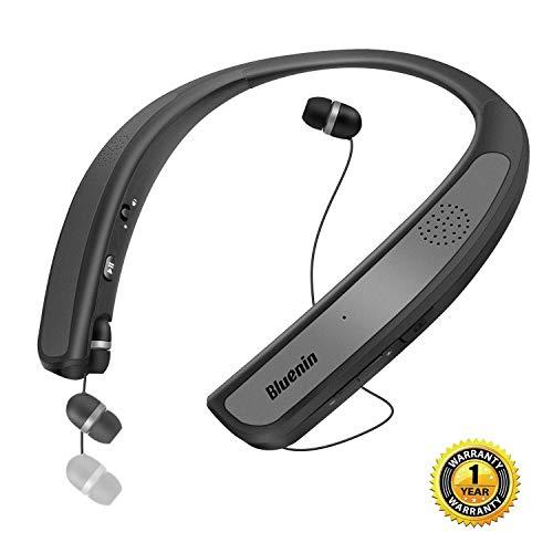 ネックバンドスピーカー ワイヤレス Bluetoothイヤホン「ウェアラブル/10時間連続再生/内蔵マイク Bluetooth4.1搭載/防水」オーディオ用/電話/スポーツ/音楽/テレビ劇場に適用 3Dサウンド ハンズフリー ステレオヘッドセット (シルバー)