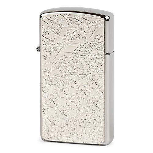 ZIPPO(ジッポー) ライター シルバー スリム 桜 メタルプレート貼り ホワイトニッケル