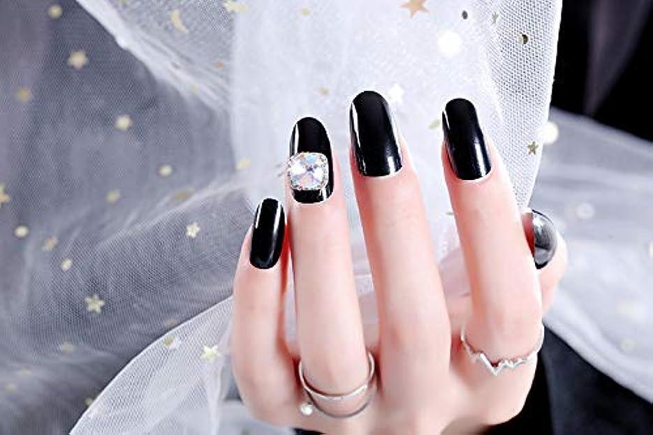 縁石被る説明ネイルアートを着用する 24枚入 高品質 ジュエリーインレイ 人工ダイヤモンド 輝く エレガント 中位の長さ 手作りネイルチップ ネイル花嫁 (黒)