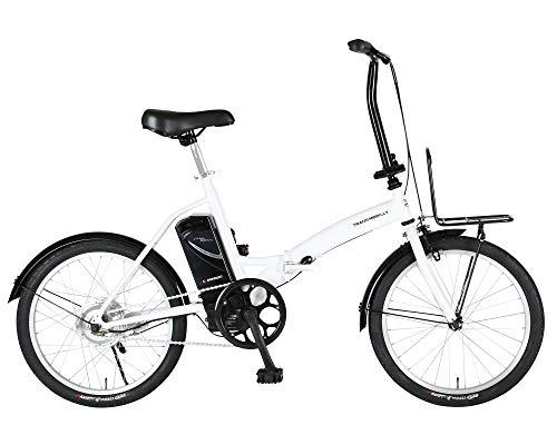 トランスモバイリー(TRANS MOBILLY) FDB200E ホワイト 電動アシスト自転車 折りたたみ 20インチ 前後泥除け付き 前キャリア付き またぎやすくコンパクト バッテリー容量5.0Ah