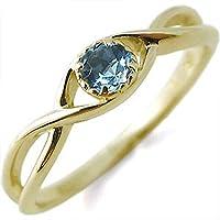 プレジュール 指輪 ブルートパーズ 一粒 シンプル K18イエローゴールド リング リングサイズ6号