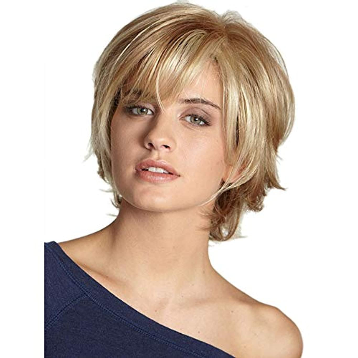成功移行するラリーベルモントWASAIO 女性ショートカーリーヘアーフルウィッグ (色 : Blonde)