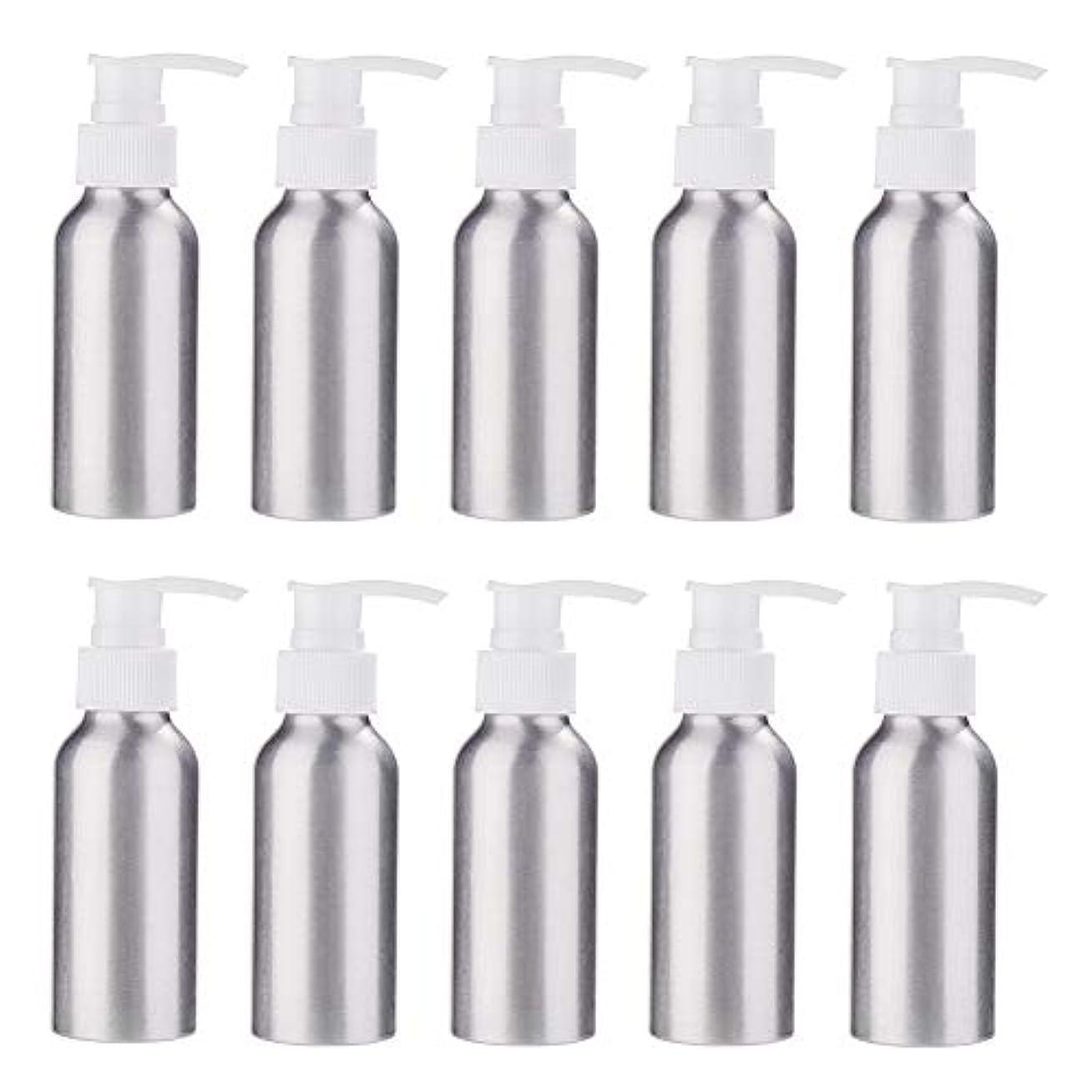 思われる十一特徴づけるBENECREAT 10個セット100mlポンプアルミボトル 空ボトル 防錆 軽量 化粧品 クリーム シャンプー 小分け 詰め替え 白いポンプ