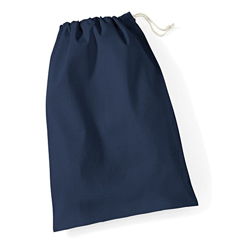 (ウエストフォード・ミル) Westford Mill 綿100% 巾着袋 スクールバッグ トラベルバッグ コットンポーチ (S) (ネイビーブルー)