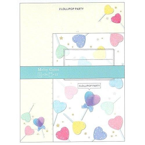 LOLLIPOP PARTY / A5 トレペ レターセット 便箋2×12枚 封筒2×12枚 08876