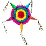 メキシカン トラディショナルボール紙 スターピニャータ マルチカラー 誕生日 フィエスタ パーティー用品に最適 特大36インチタッセル。
